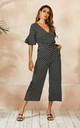 Kennedy Wrap Neck Short Sleeve Jumpsuit In Black Polka Dot by FS Collection
