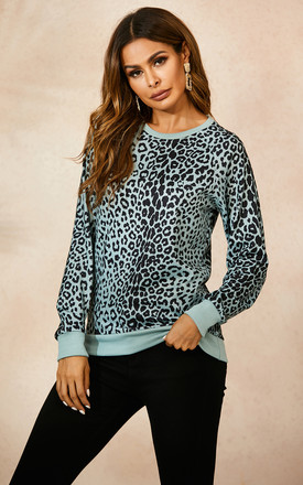 Mint Green Top In Black Animal Print by FS Collection Product photo