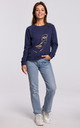 Blue Sweatshirt with Print in Front by MOE