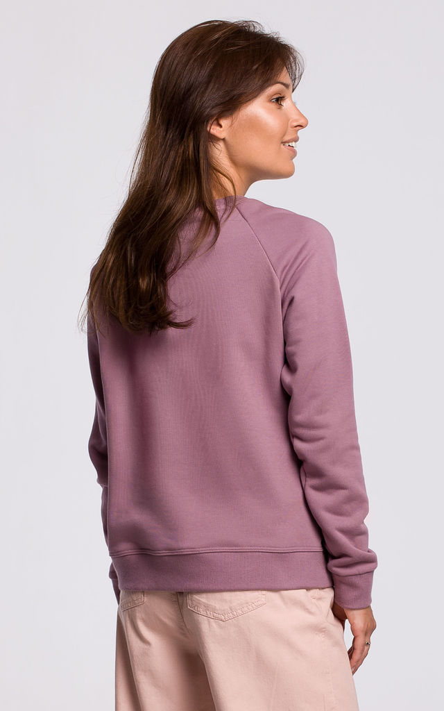 Pink Sweatshirt with Print in Front by MOE