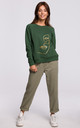 Green Sweatshirt with Print in Front by MOE