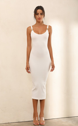 Criss Gold Detail Strapc Ribbed Bodycon Midi Dress In White by Miss Floral