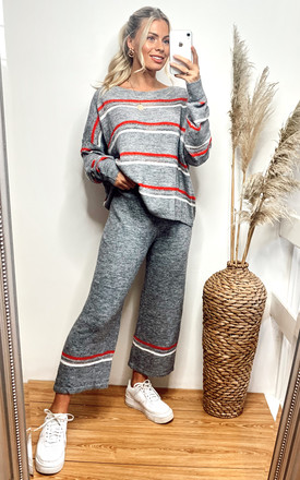 Loungewear Co-ord with Stripes | Jumper & Trousers in Grey by CY Boutique