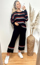 Loungewear Co-ord with Stripes | Black Knit Jumper & Trousers by CY Boutique