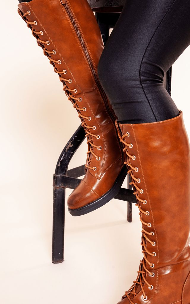 Camel Lace Up Knee High Boot by Bond Street Shoe Company
