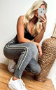 Jogging Bottoms with Side Stripes In Soft Grey Knit by CY Boutique
