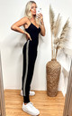 Jogging Bottoms with Side Stripes In Soft Black Knit by CY Boutique