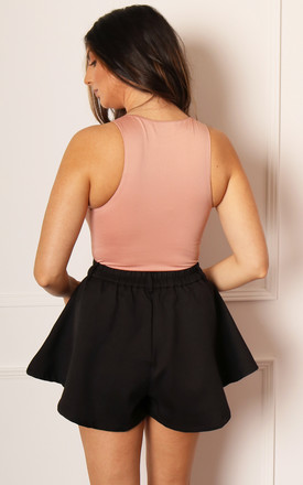 High Waisted Flippy Ruffle Shorts in Black by One Nation Clothing