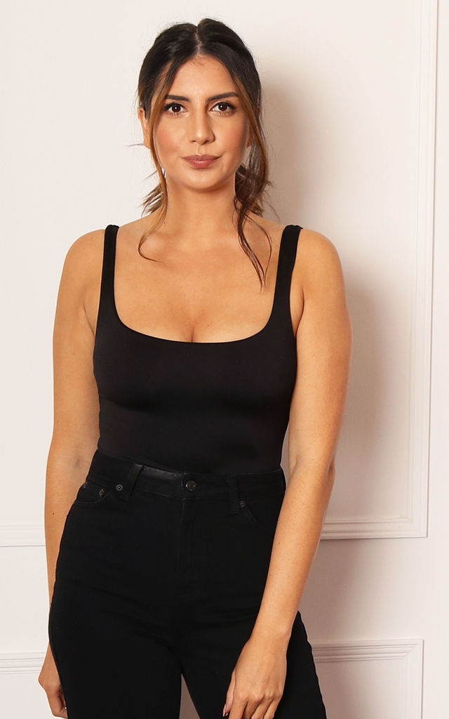 Scoop Neck Double Layer Sleeveless Bodysuit in Black by One Nation Clothing