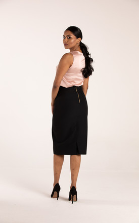 ZIPPED MIDI PENCIL SKIRT IN JET BLACK by Equal London