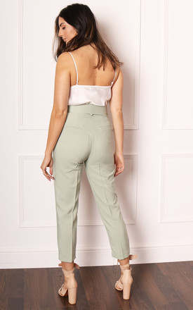 High Waist Tailored Tapered Trousers with Buckle Belt in Sage Green by One Nation Clothing