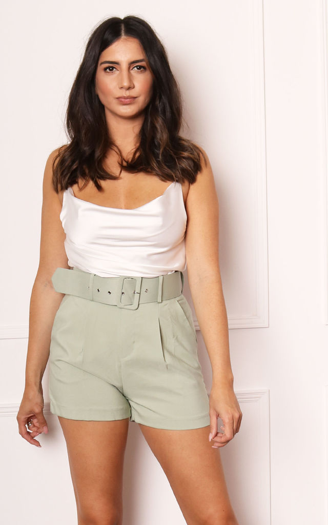 High Waist Tailored Shorts with Buckle Belt in Sage Green by One Nation Clothing