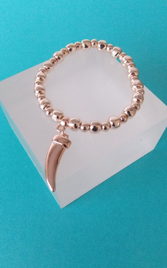 Rose Gold Tusk Charm Stretch Bracelet by Olivia Divine Jewellery