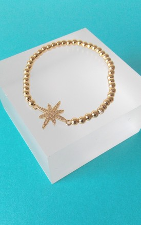 Gold Crystal Star Beaded Stretch Bracelet by Olivia Divine Jewellery