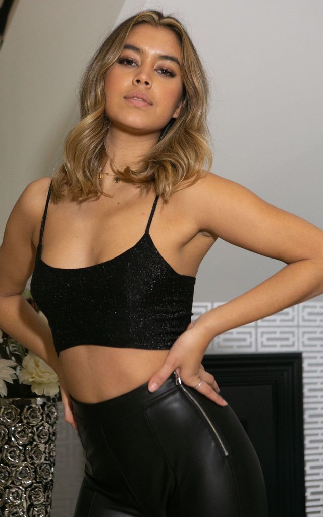 Phoenix Metallic Crop Top in Black by Missimi