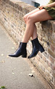 Kay Black Croc Patent Chelsea Boots With Stacked Block Heel by Linzi
