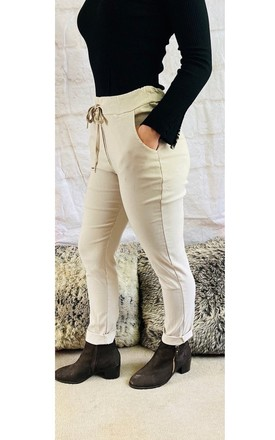 Smart Stretch Trousers in Stone by Pink Lemonade Boutique