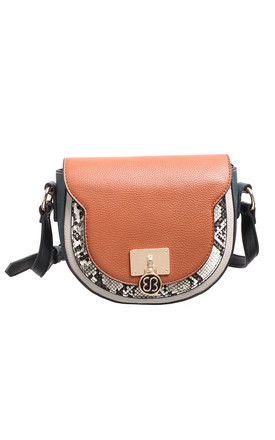 MULTI COLOUR FLAP OVER SADDLE BAG TAN by BESSIE LONDON