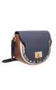 MULTI COLOUR FLAP OVER SADDLE BAG NAVY by BESSIE LONDON