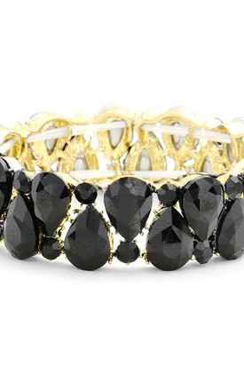 Black Jewelled Stretch Style Bangle by Olivia Divine Jewellery