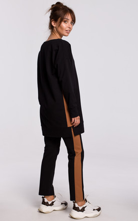Black Long Sweatshirt with Decorative Strap by MOE