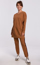 Brown Long Sweatshirt with Decorative Strap by MOE