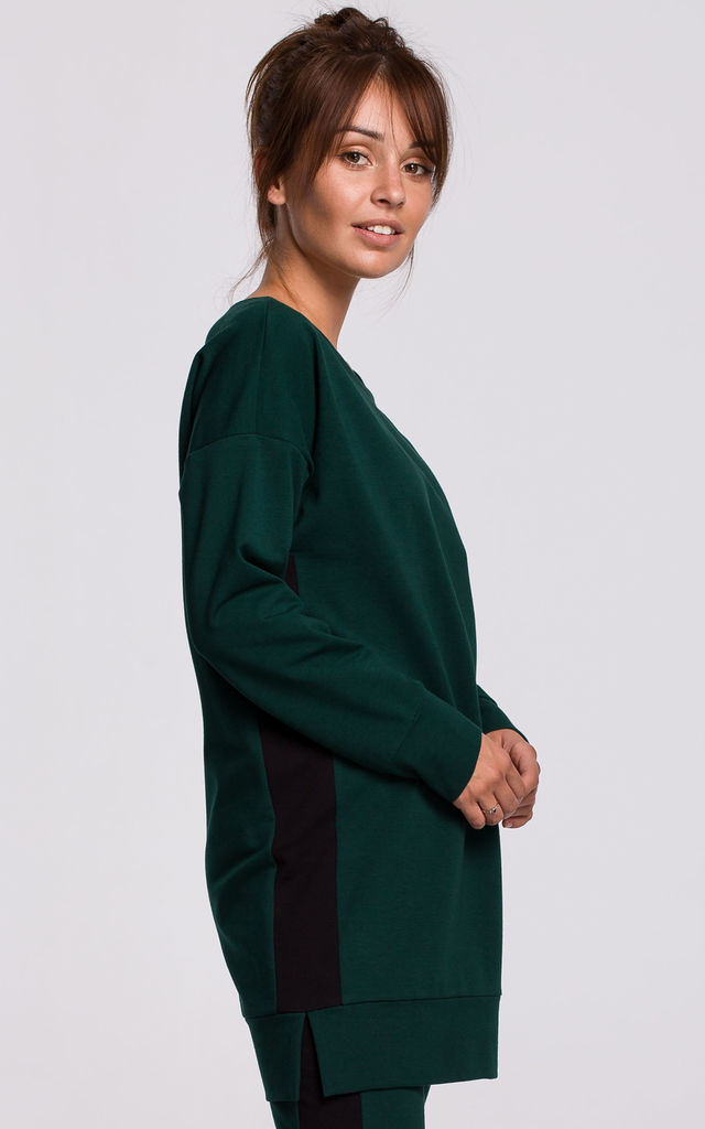 Green Long Sweatshirt with Decorative Strap by MOE