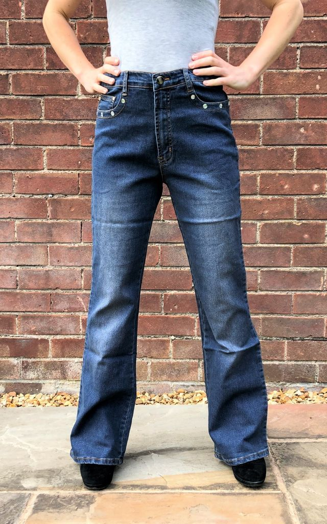 Dark Blue Diamante Bootcut Jeans by Glamour Outfitters