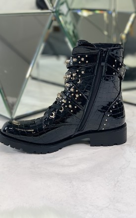 Selia Ankle Boots in Black Patent Croc by Larena Fashion
