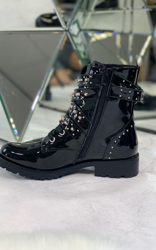 Selia Ankle Boots in Black Patent by Larena Fashion
