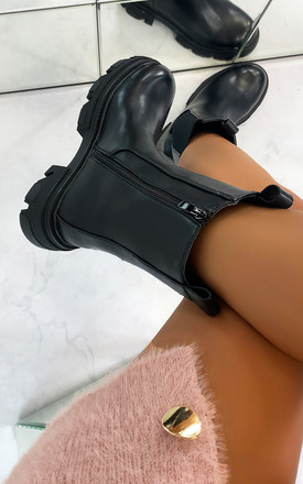 Topaz Chunky Sole Pull On Boots in Black by Larena Fashion