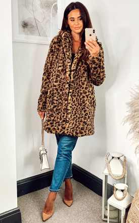 Teddy Coat In Leopard Print by Noisy May Product photo