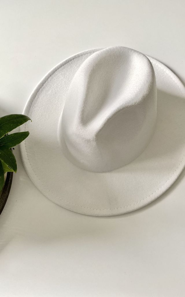 Classic large brim fedora hat in milk white by Kate Coleman