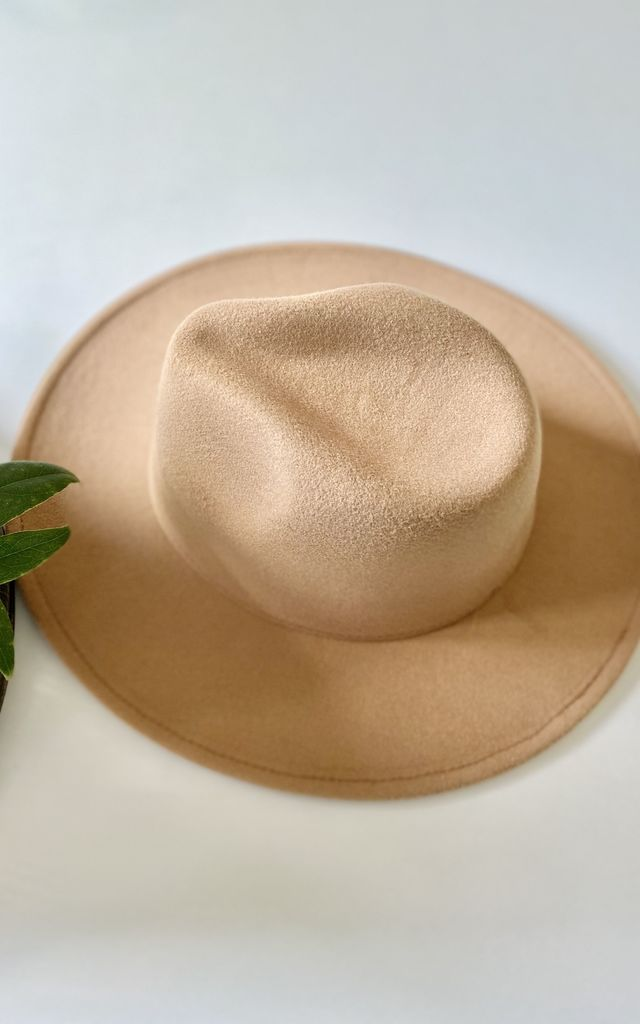 Classic large brim fedora hat in nude camel by Kate Coleman