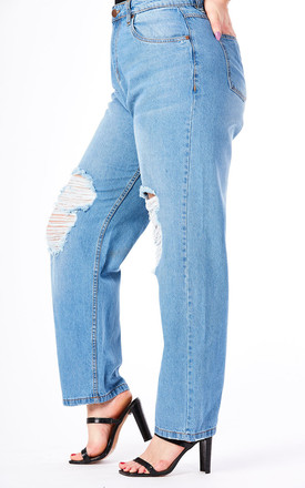 Plus Mid Blue Wash High Waist Distress Mom Jeans by J-Mojo Denim