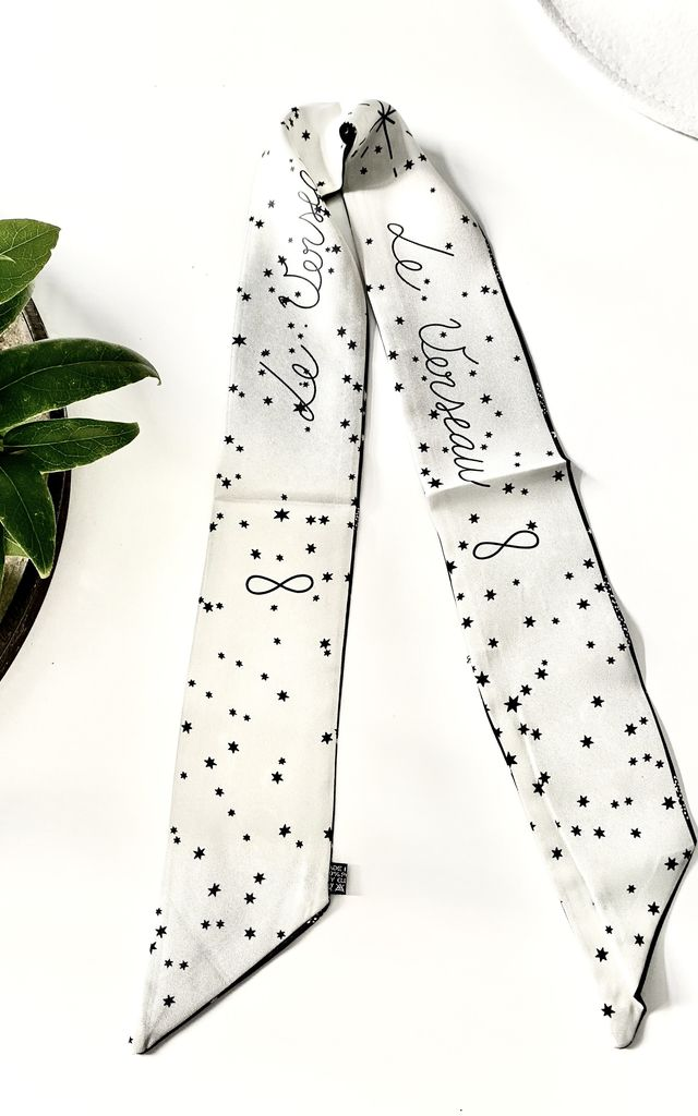 Zodiac Aquarius silk scarf in black and white by Kate Coleman