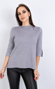 Short Sleeve Smart Jumper w/ Button Sleeve (GREY) by Lucy Sparks