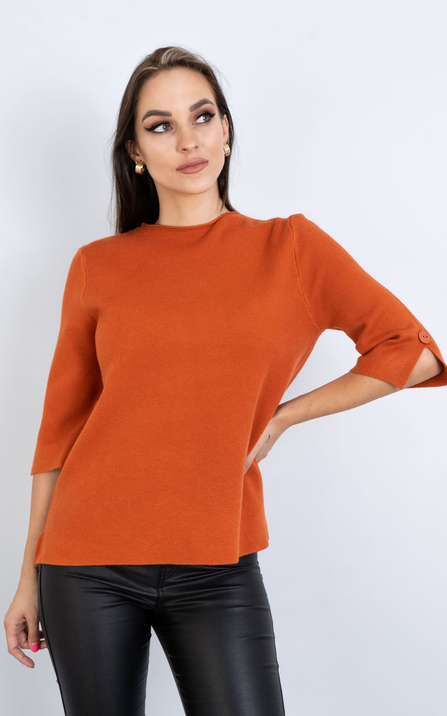 Short Sleeve Smart Jumper w/ Button Sleeve (ORANGE) by Lucy Sparks