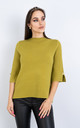 Short Sleeve Smart Jumper w/ Button Sleeve (LIMEGREEN) by Lucy Sparks