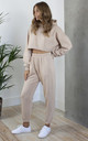 Relaxed Tracksuit Joggers and Crop Hoodie in Beige by Hey You