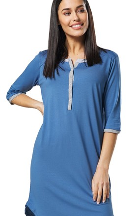 Women's Maternity Nursing Striped Nightshirt Open Front Top Blue Jeans by Chelsea Clark
