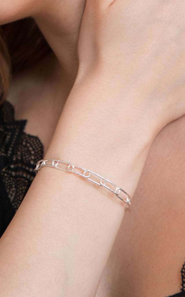 LINK CHAIN CUFF BRACELET STERLING SILVER by Lucy Ashton Jewellery