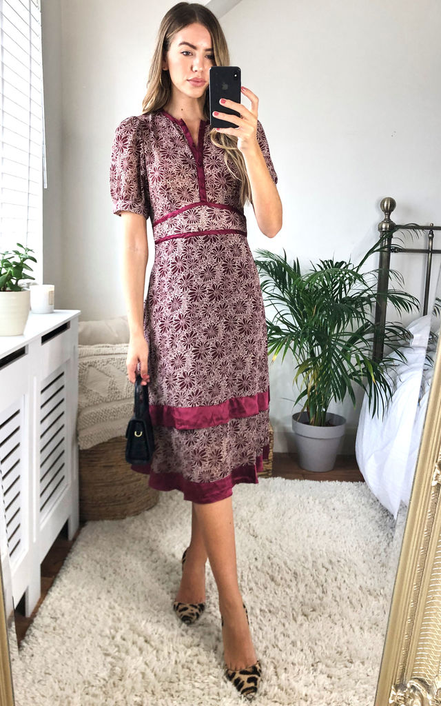 Round Neck Satin Trim Midi Dress in Burgundy Floral by Another Look