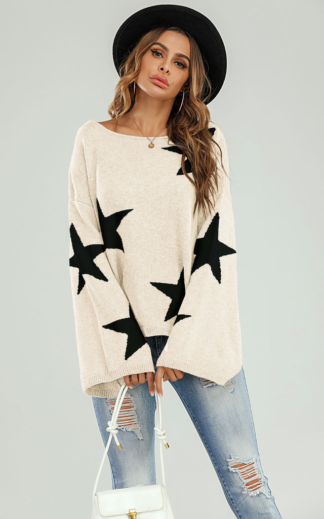 Wide Sleeve Oversize Cream Jumper With Black Star by FS Collection