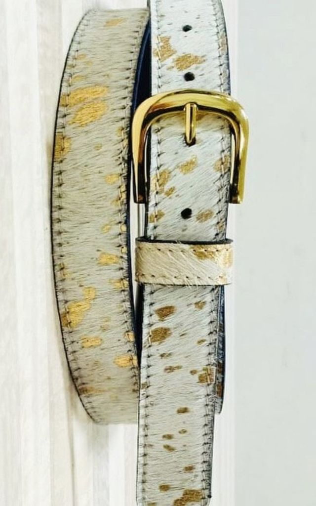 Gold Acid Splash Hair on Hide Womens Leather Belt by hydestyle london