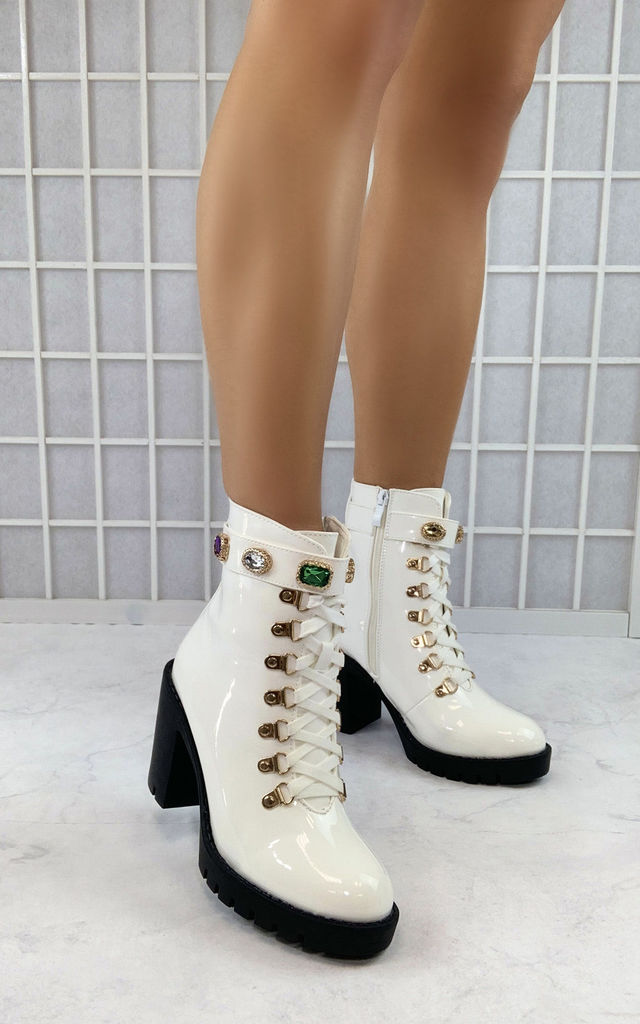 Aminta High Gloss Ankle Boots in White by Larena Fashion
