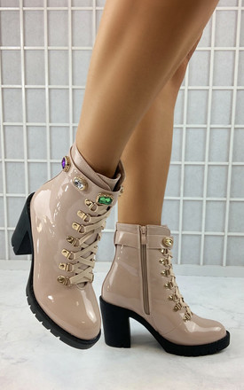 Aminta High Gloss Ankle Boots in Nude Pink by Larena Fashion