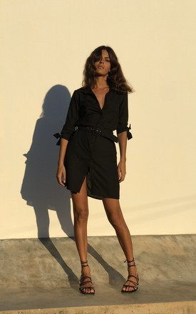 Jonah Mini Shirt Dress In Black by Dancing Leopard Product photo