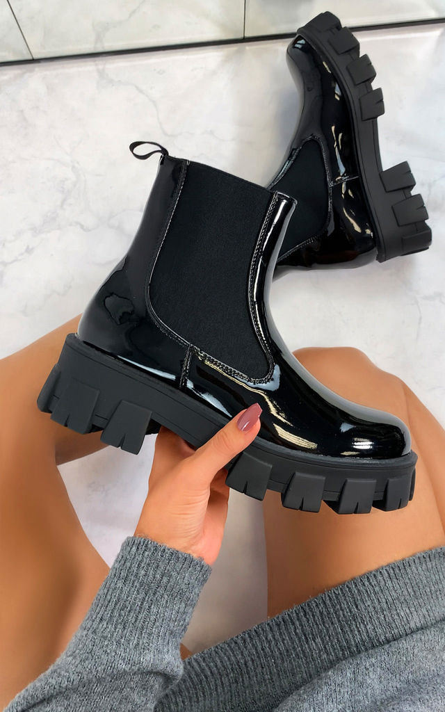 Orion Chunky Sole Ankle Boots in Black by Larena Fashion