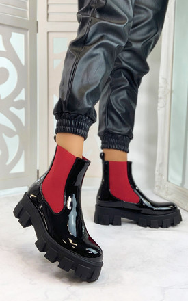 Orion Chunky Sole Ankle Boots in Black Red by Larena Fashion